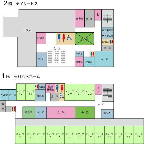 オリーブの苑施設マップ